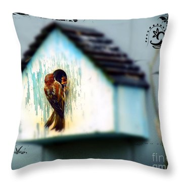 Feeding Time Throw Pillow by Christy Ricafrente