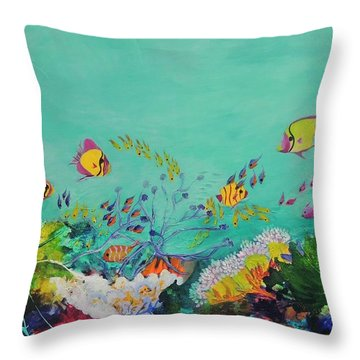 Throw Pillow featuring the painting Feeding Time by Lyn Olsen