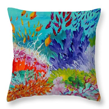 Throw Pillow featuring the painting Feeding Time On The Reef #2 by Lyn Olsen