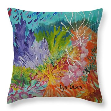 Throw Pillow featuring the painting Feeding Time On The Reef #3 by Lyn Olsen