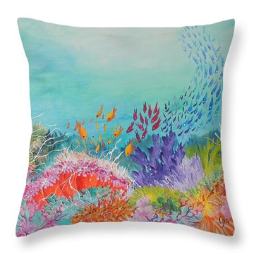 Throw Pillow featuring the painting Feeding Time On The Reef by Lyn Olsen