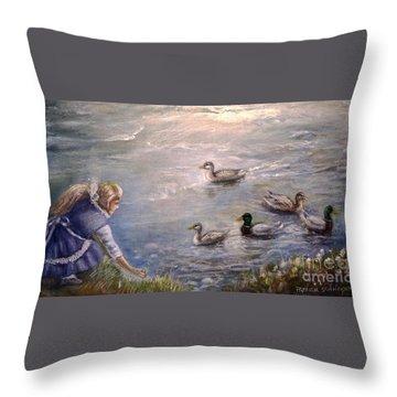 Feeding Time Throw Pillow by Patricia Schneider Mitchell
