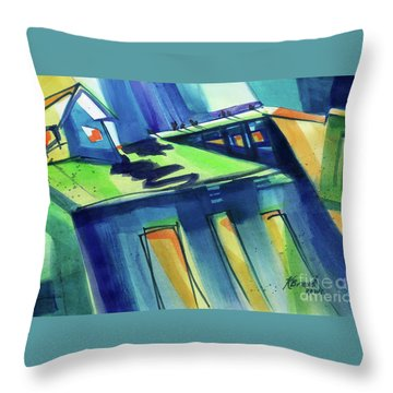 Throw Pillow featuring the painting Feedmill In Blue And Green by Kathy Braud