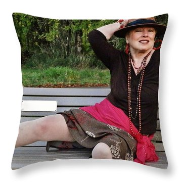 Feeling Jazzy In The Arts Park Throw Pillow by VLee Watson