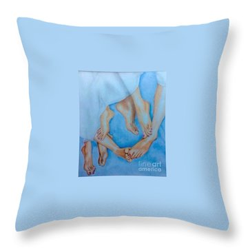 Naughty Feet Throw Pillow