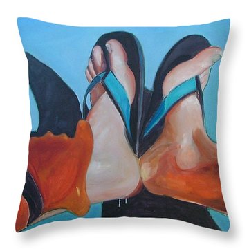 Feet Sunning Throw Pillow