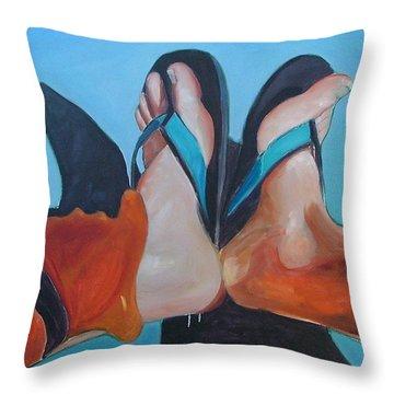 Feet Sunning Throw Pillow by Gary Coleman