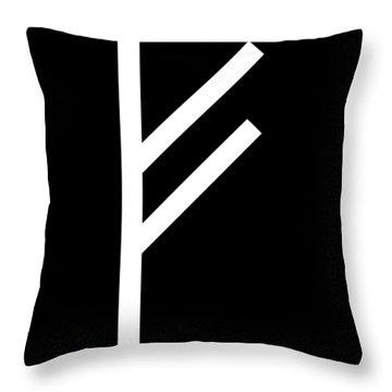 Fehu Rune Throw Pillow