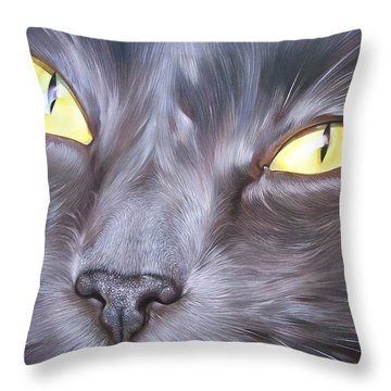Feline Face 1 Throw Pillow