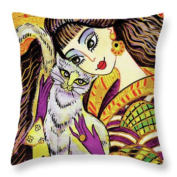 Feline Rhapsody Throw Pillow