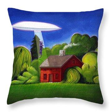 Feline Ufo Abduction Throw Pillow