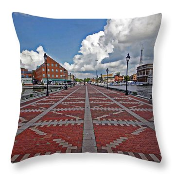 Throw Pillow featuring the photograph Fells Point Pier by Suzanne Stout
