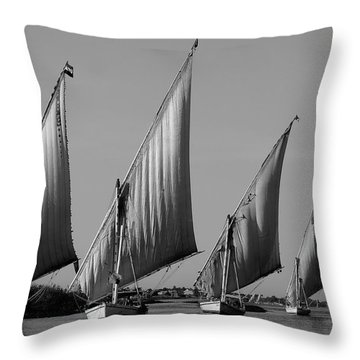Feluccas On River Nile Throw Pillow