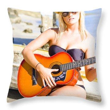 Female Beach Singer And Guitarist Throw Pillow