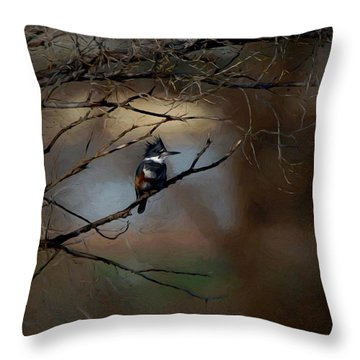 Female Belted Kingfisher 3 Throw Pillow by Ernie Echols