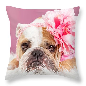 Female Bulldog Wearing Pink Outfit And Flower Throw Pillow