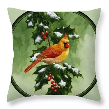 Female Cardinal And Holly Phone Case Throw Pillow