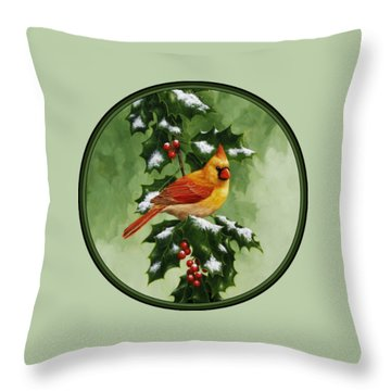 Female Cardinal And Holly Phone Case Throw Pillow by Crista Forest