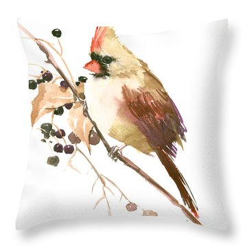 Female Cardinal Bird Throw Pillow