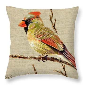 Throw Pillow featuring the painting Female Cardinal by Bob Coonts