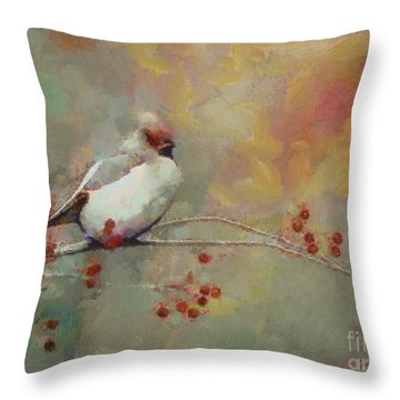 Throw Pillow featuring the painting Female Cardinal - Feathered Friends Collection  by Elizabeth Coats
