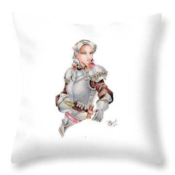 Female Elf Throw Pillow by Bill Richards