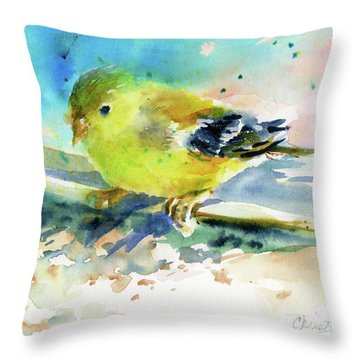 Female Goldfinch Throw Pillow by Christy Lemp