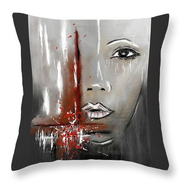 Female Half Face On Grey Abstract Throw Pillow
