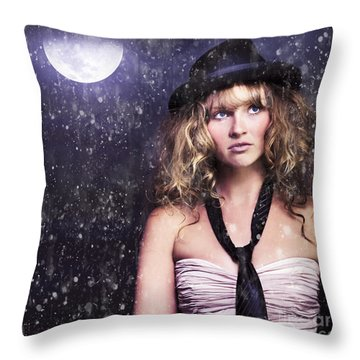Female Moon Light Night Performer Acting In Rain Throw Pillow