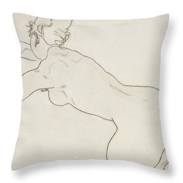 Female Nude Kneeling And Bending Forward To The Left Throw Pillow by Egon Schiele