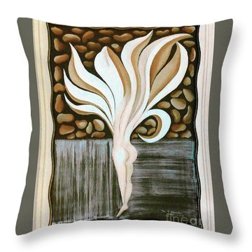 Throw Pillow featuring the painting Female Petal by Fei A