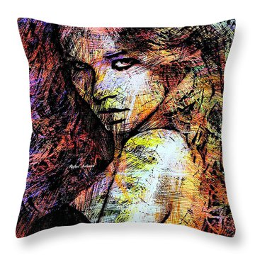 Throw Pillow featuring the digital art Female Portrait 1955 by Rafael Salazar