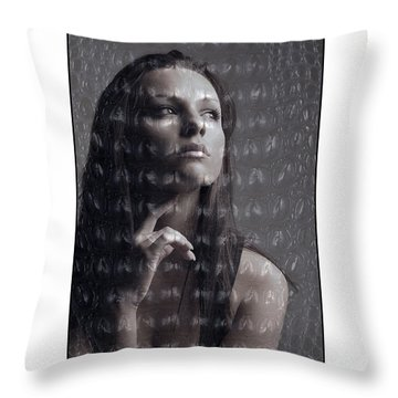Female Portrait With Reptile Texture Throw Pillow by Michael Edwards