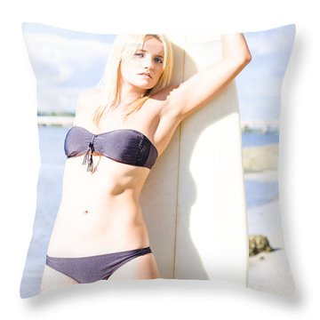 Female Surfer In Sun With Surf Board Throw Pillow