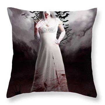 Female Vampire During Twilight Full Moon Horror Throw Pillow