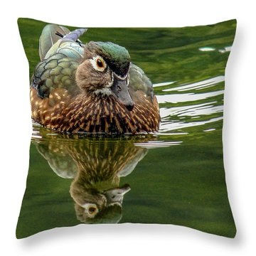 Throw Pillow featuring the photograph Female Wood Duck by Jean Noren