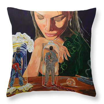Femina Deciding Throw Pillow