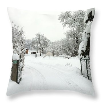 Fence And  Gate In Winter Throw Pillow
