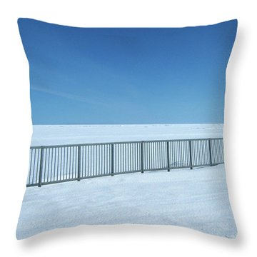 Fence In Snow Throw Pillow