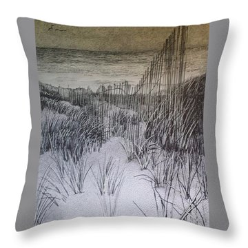 Fence In The Dunes Throw Pillow