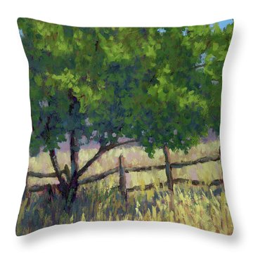 Fence Line Tree Throw Pillow