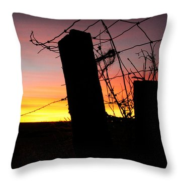 Fence Sunrise Throw Pillow by Kathy M Krause