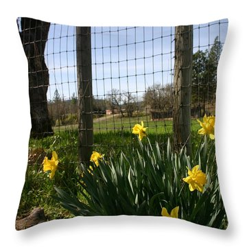 Throw Pillow featuring the photograph Fence With A View by Marie Neder