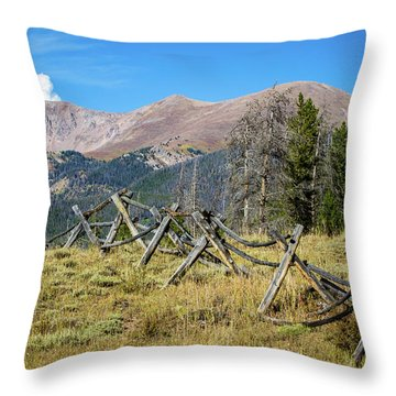 Fences Into The Rockies Throw Pillow