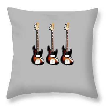 Fender Jazzbass 74 Throw Pillow by Mark Rogan