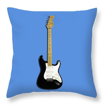 Fender Stratocaster Blackie 77 Throw Pillow by Mark Rogan