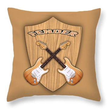 Fender Stratocaster Natural Color Shield Throw Pillow by Doron Mafdoos