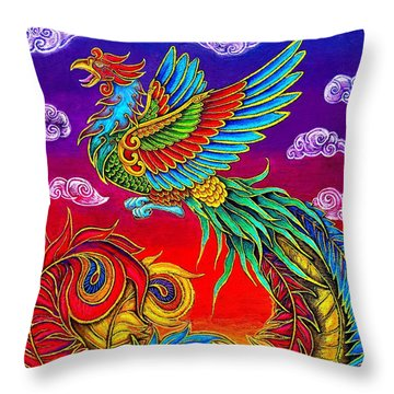 Fenghuang Chinese Phoenix Throw Pillow