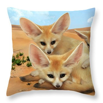 Fennec Foxes Throw Pillow by Thanh Thuy Nguyen