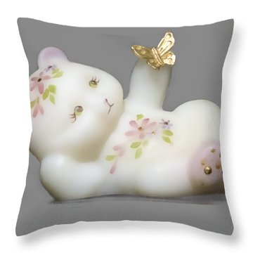 Throw Pillow featuring the pyrography Fenton Bear Cutout by Linda Phelps